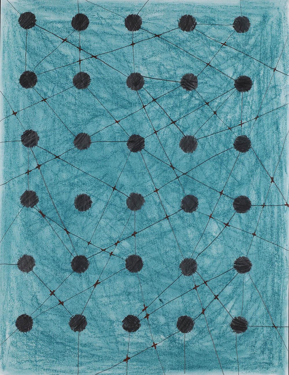 Blauwgroen & grafiet 70x50cm
