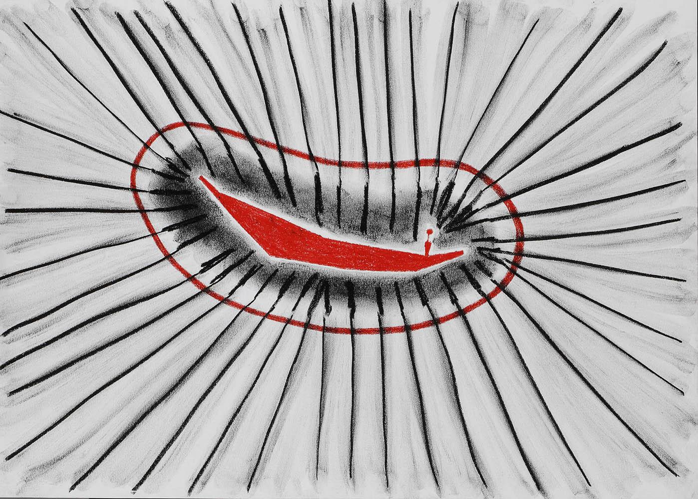 Boot in cel 13  -  pastel- & vetkrijt  -  35x50 cm