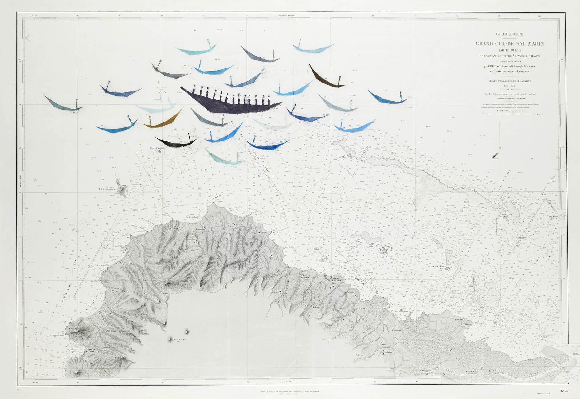 Guadeloupe - pastelkrijt op zeekaart - 65x97cm - €700