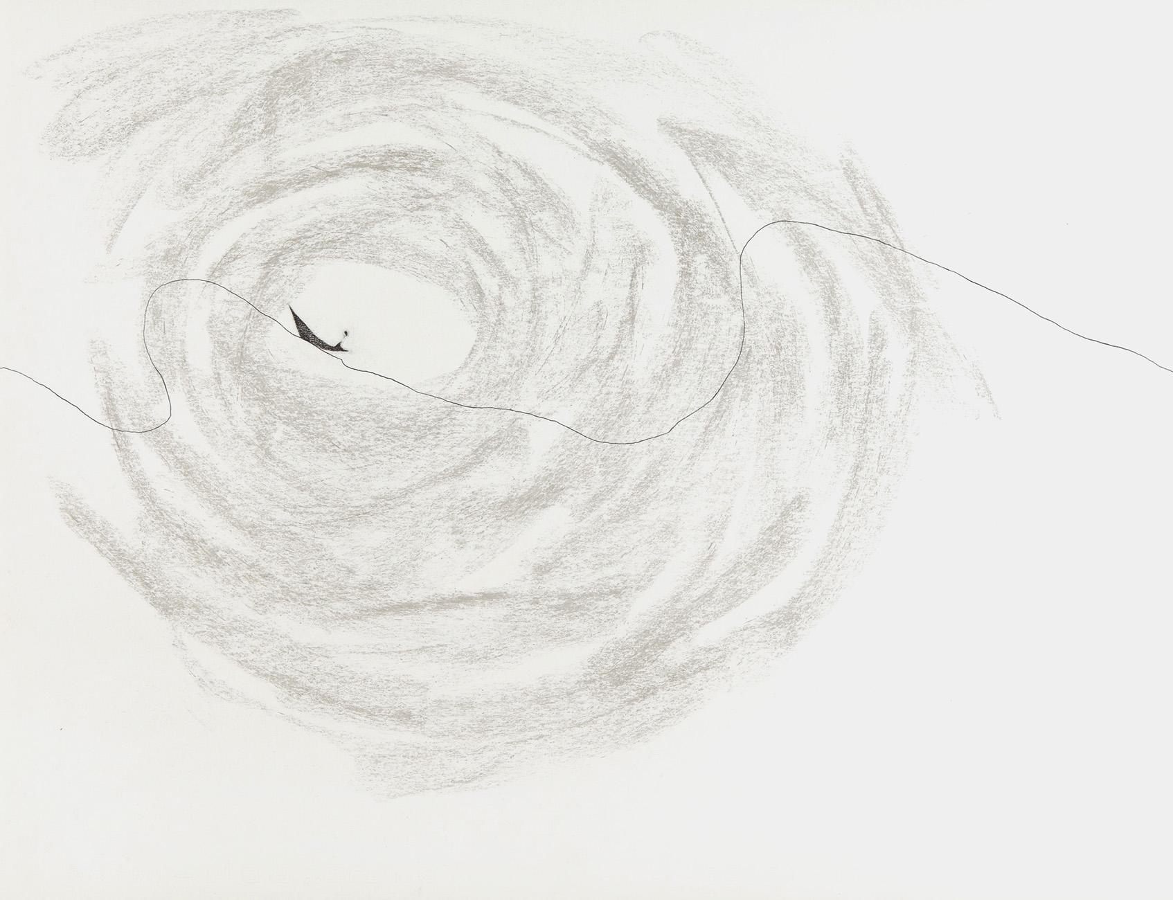 Klein grijs op lijn  - potlood & pastelkrijt  -  50x70 cm - verkocht