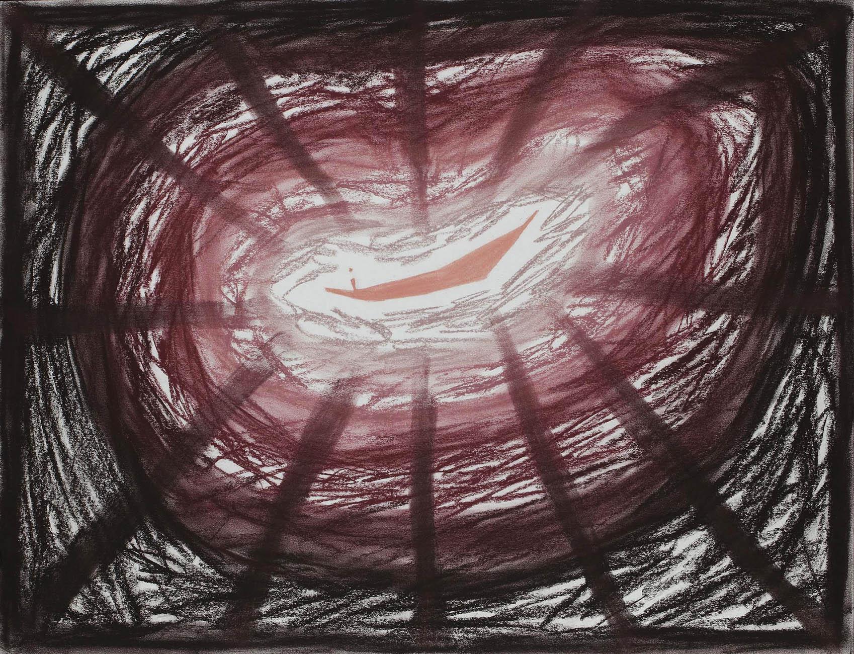 Roze kracht  -  pasteltkrijt  -  50x70 cm