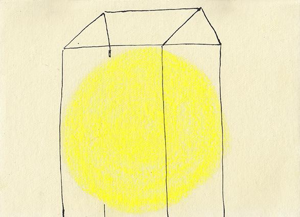 Huisje 1 -  Oost-Indische inkt & pastelkrijt - 21,5x15,5 cm