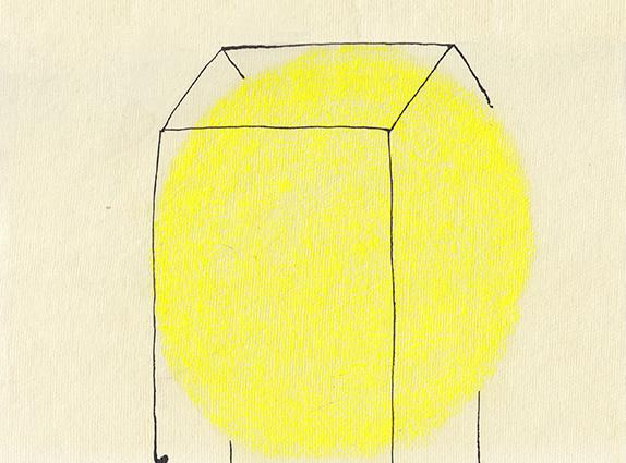 Huisje 2 - Oost-Indische inkt & pastelkrijt - 21,5x15,5 cm