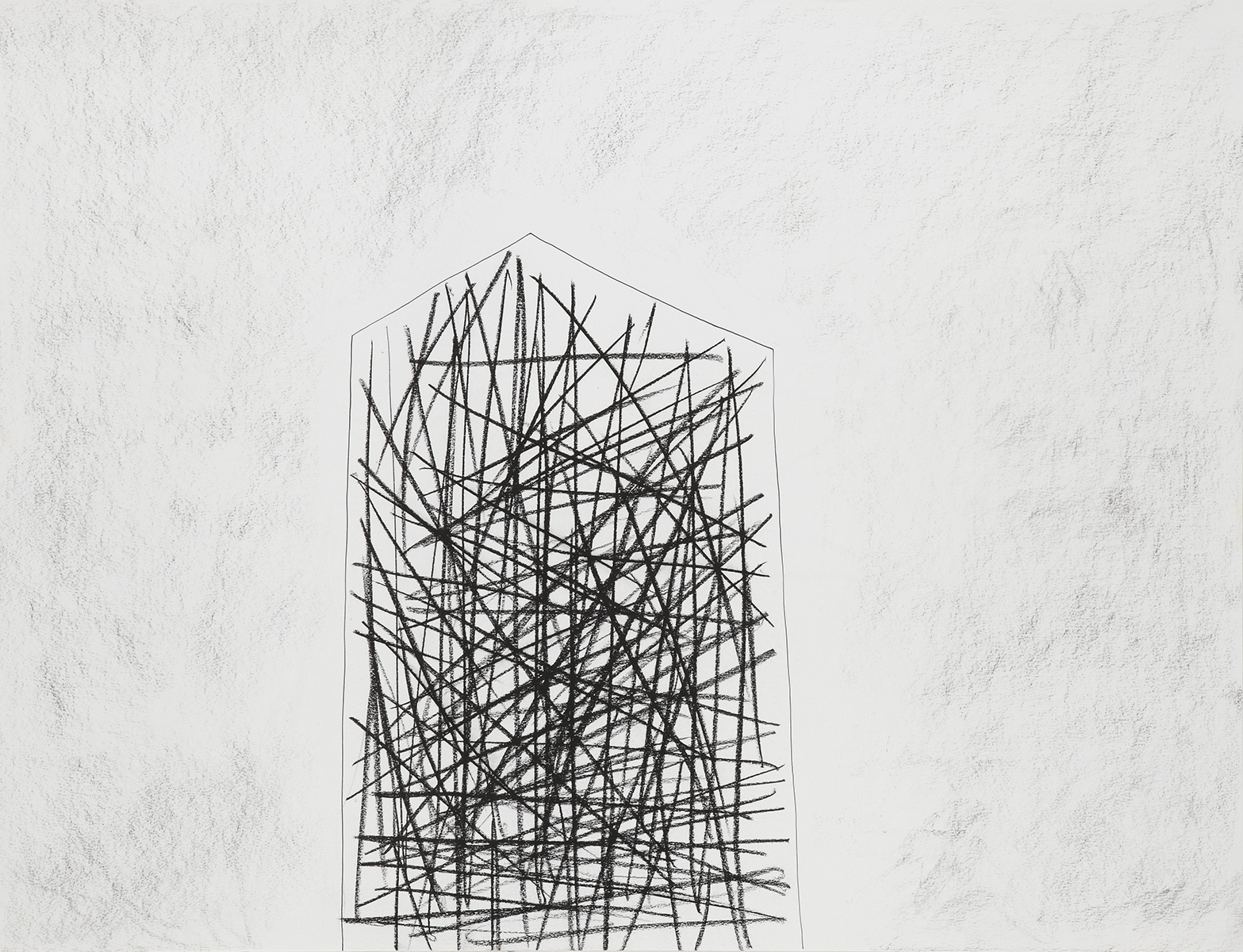 Huis 14 - Oost-Indische inkt & houtskool - 50 x 70 cm