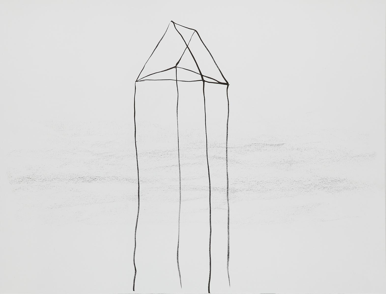 Huis 15 - Oost-Indische inkt & houtskool - 50 x 70 cm