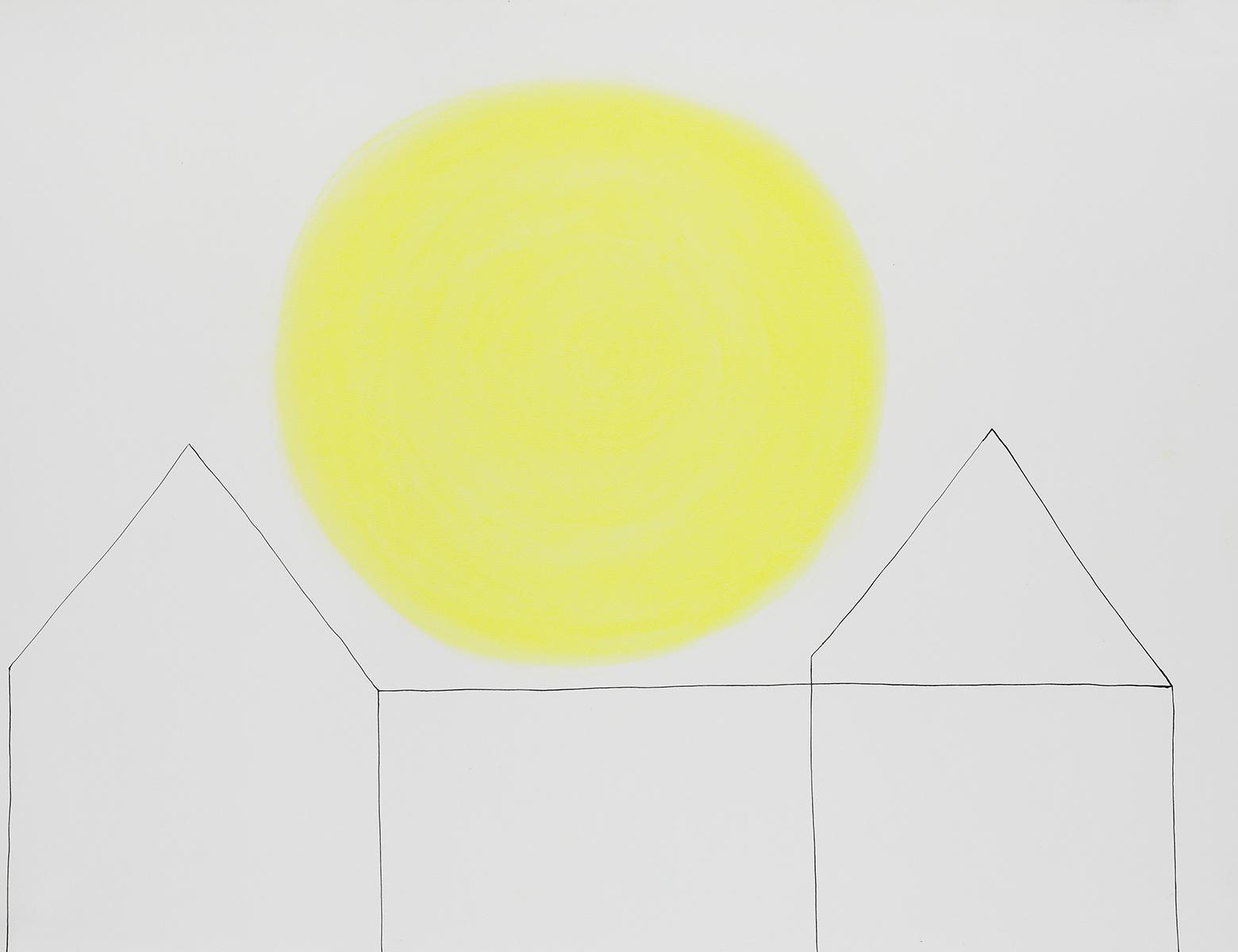 Huis 18 - Oost-Indische inkt & pastelkrijt - 50 x 70 cm