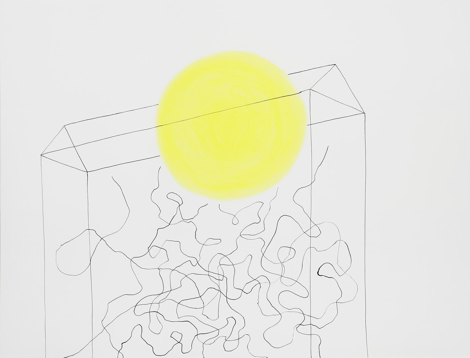 Huis 25 - Oost-Indische inkt & pastelkrijt - 50 x 70 cm