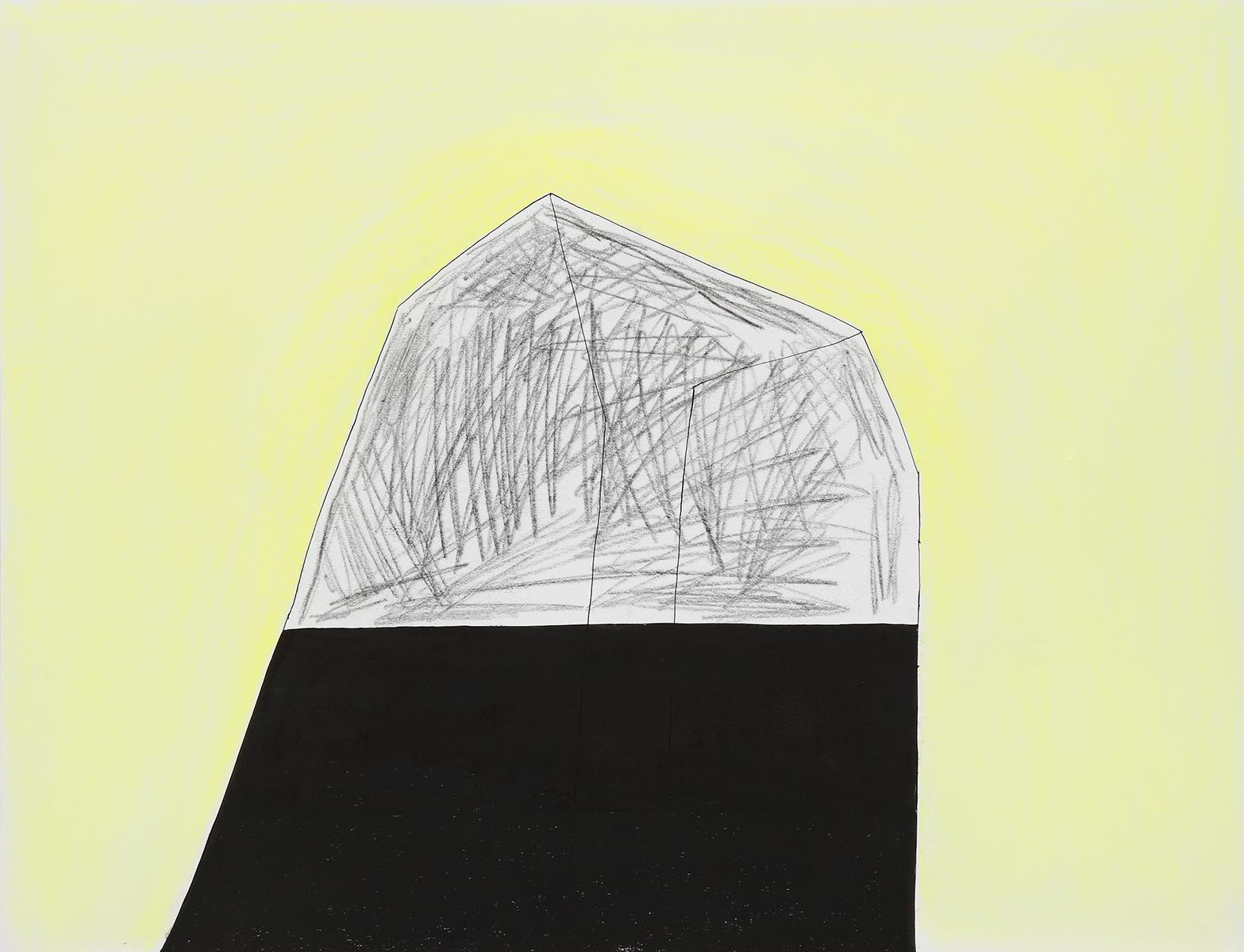 Huis 29 - OI inkt, pastelkrijt & houtskool - 50 x 70 cm