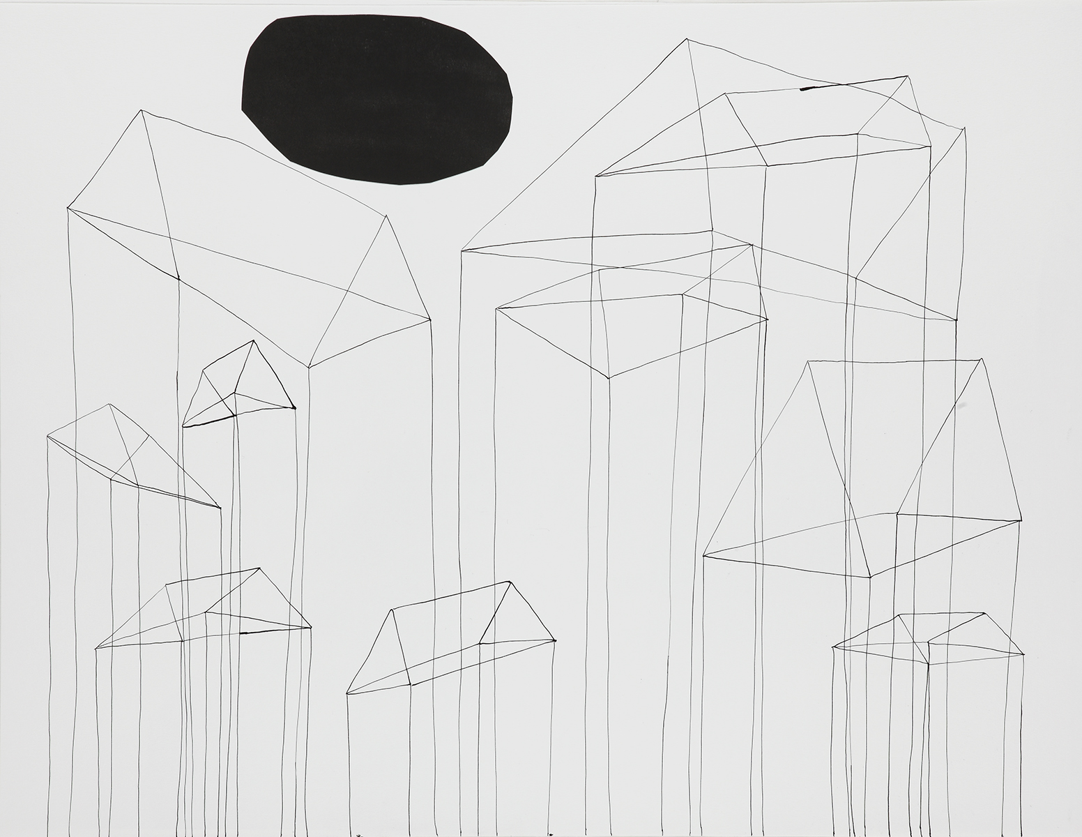 Huis 8 - Oost-Indische inkt & houtskool - 50 x 70 cm