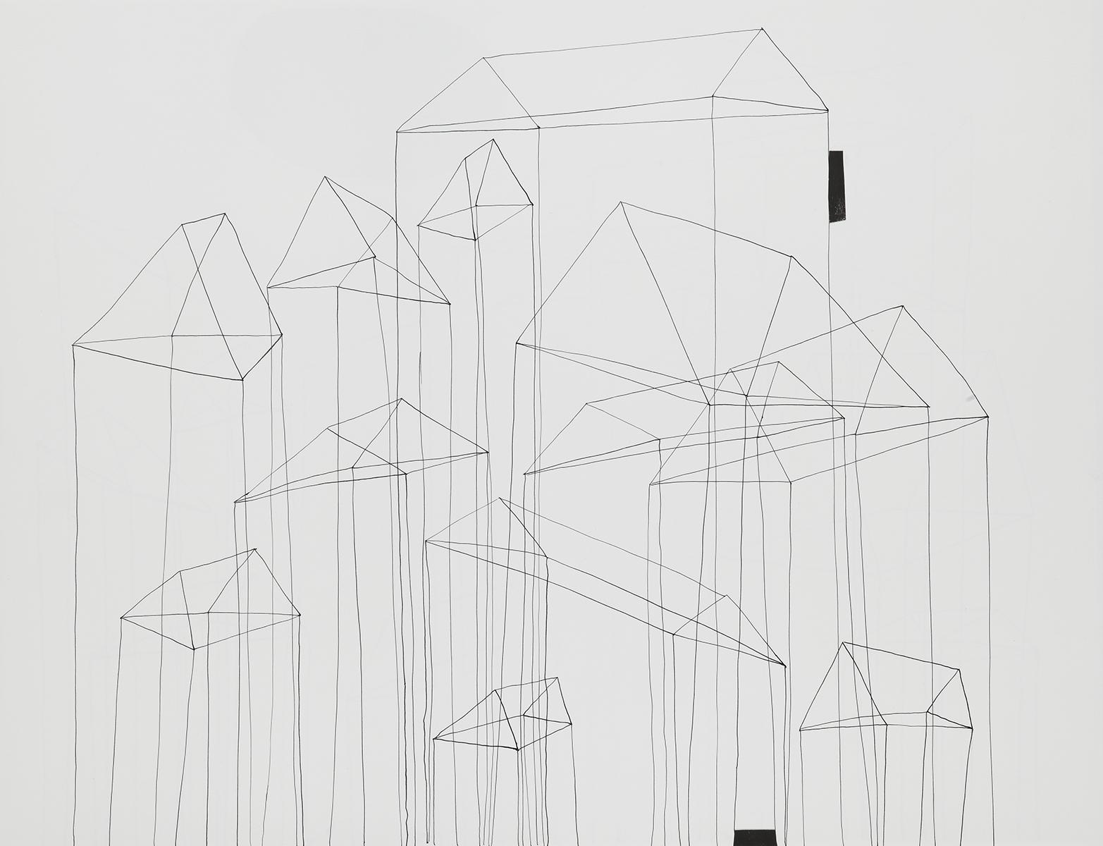 Huis 9 - Oost-Indische inkt & houtskool - 50 x 70 cm