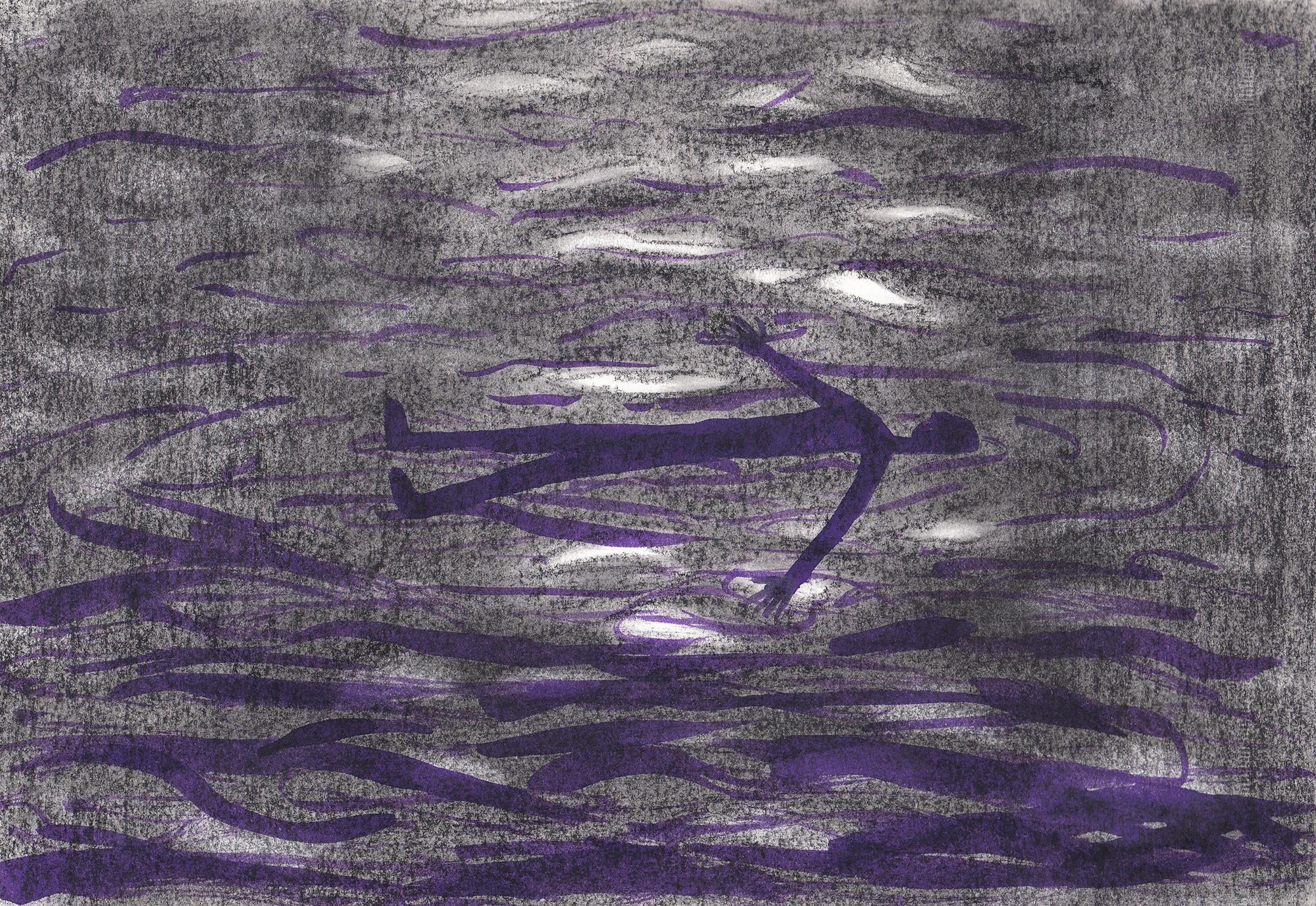 Drijven - A4 - pastelkrijt & inkt